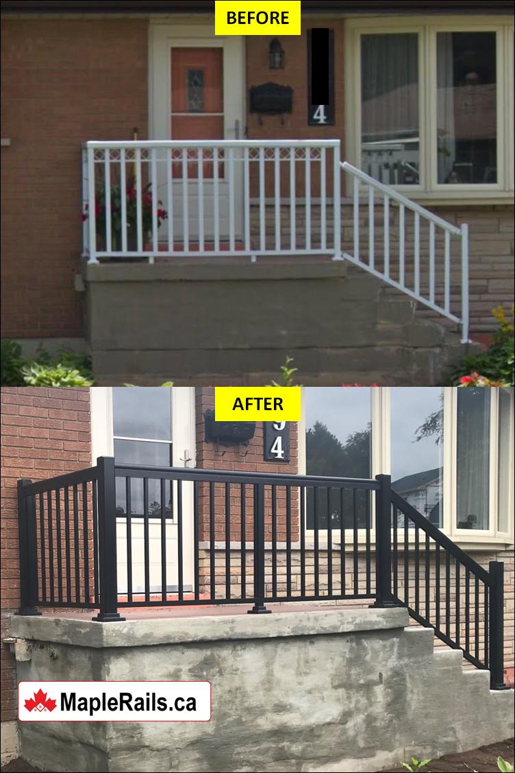 Custom Concrete Steps & Porch Restoration with BLACK Aluminum Railing Installed (Burlington, ON)