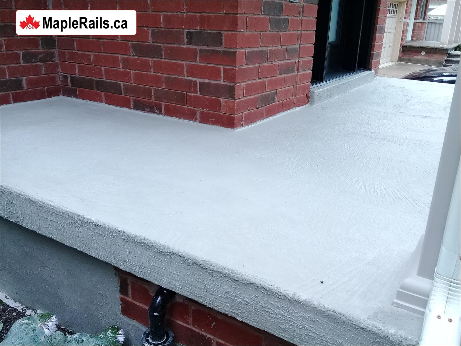 Concrete Porch Repair & Resurfacing with Atlantic Grey Concrete Coating (Kitchener, ON)