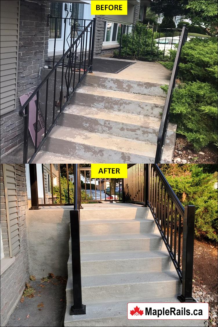 Concrete Porch Renovation with BLACK Aluminum Railing Installed (Oakville, ON)