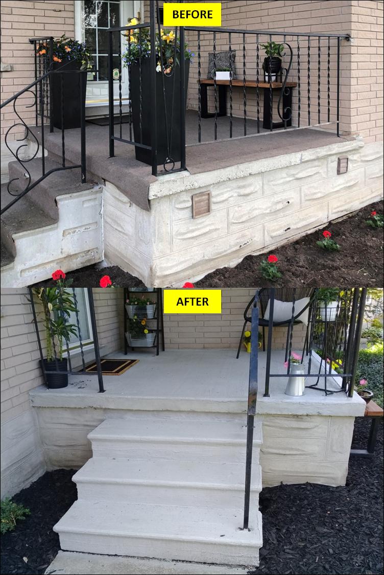 Concrete Porch Repair & Resurfacing with Atlantic Grey Concrete Coating (Waterloo, ON)