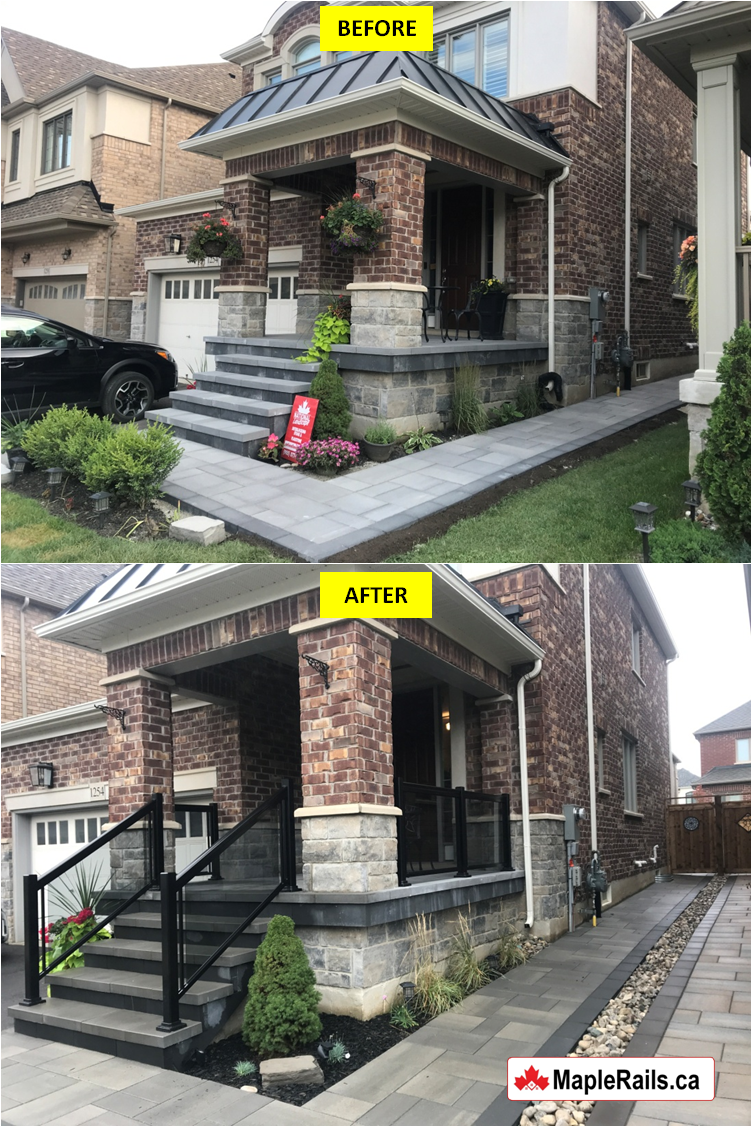 Maple-RENAISSANCE Series BLACK Tinted Grey Glass Railing Installation on Porch & Stairs (Milton, ON)