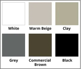 Black, White, Warm Beige, Clay, Commercial Brown, Cashmere, Gray